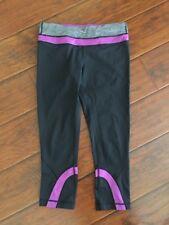 Lululemon Run Inspire Crop Leggings Black Purple 8