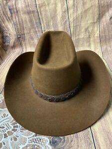Vintage Stetson 3X Beaver Hat Size 7 1/4 Brown XXX Braided Band