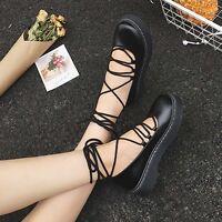 Vintage Women Punk Lace Up Goth High Platform Flat Platform Creeper Shoes Black