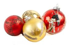 Gold Red White Snowman Glass Ball Lot of 4 Christmas Tree Ornament Decoration