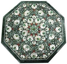 Semi Precious Stones Inlaid Coffee Table Top Marble Side Table Size 16 Inches