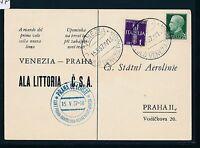 87757) LAI/CSA FF Venedig Italien - Prag 15.5.37, So-Karte sp.card