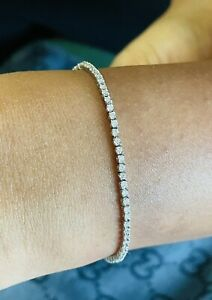 Handcrafted  18k White Gold  1.75 Ct Top Quality Round Diamond Tennis Bracelet