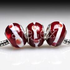 10pcs Silver Murano Glass European Beads Lampwork Big Hole Fit Bracelet LB0103