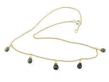 Moldavite 6.89g necklace Gold 14K faceted moldavites drop+ CERTIFICATE CERTIF075