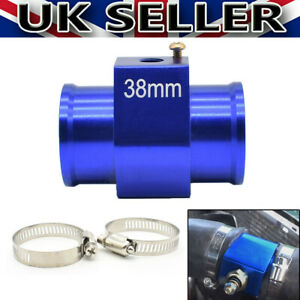 38mm Aluminum Coolant Water Temp Radiator Hose Joint Pipe Adapter Clamps Kit UK