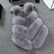 Women Lady Warm Faux Fox Fur Waistcoat Jacket Coat Short Slim Vest Gilet Outwear Gray S