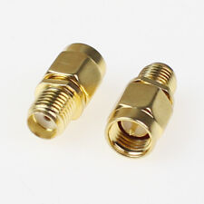 2pcs Adapter SMA male plug to SMA female jack RF connector straight gold plating
