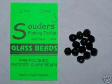 7mm Round, Faceted, Fire Polished Glass Beads - Black