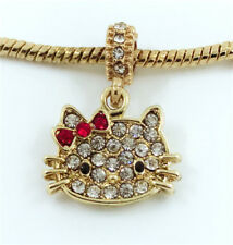 1pcs Cat Gold European Charm Crystal Spacer Beads Fit Necklace Bracelet DIY