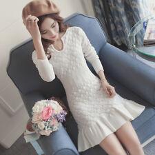 Womens V-Neck Long Sleeve Knitted Slim Fit Fishtail Long Dress Pencil Dresses