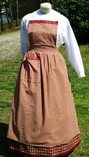 Civil War Dress Victorian Colonial Burgundy Homespun Plaid Pinner~Bib Apron
