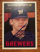 SCOOTER GENNETT Signed 2016 Topps Heritage BASEBALL CARD Mil Brewers REDS AUTO