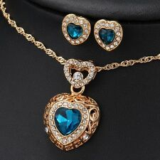 Titanic Heart Of The Ocean Sapphire Blue CZ Crystal Necklace Pendant Earring Set