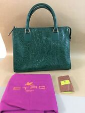 """ETRO Embossed Paisley Pattern Tote Green """"New"""" Authentic"""