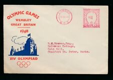 GB 1948 OLYMPICS ILLUSTRATED ENVELOPE USED 16 JULY LONDON METER FRANKING