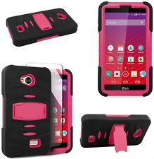 Built-in Screen Black Pink Stand Rib Case For LG Transpyre VS810PP Verizon Phone