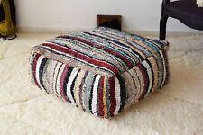 Moroccan Cotton Blue Floor Cushion Handmade Pouf Boucherouite Berber Ottoman