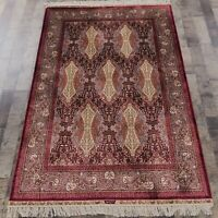 Yilong 4'x6' Handknotted Silk Carpet Antistatic Home Indoor Area Rug Z109A
