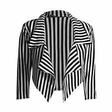 Women New Casual Black White Cropped Waterfall Striped Ladies Blazer Jacket Coat