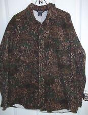Woolrich Flannel Button Up Shirt Large Camo Heavyweight Brown Green Heavy