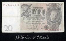 1929 Germany 20 Mark Banknote