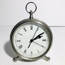 """Pottery Barn Pocket Watch Alarm Table Silver Finish Clock 5"""" Face Tested Works."""