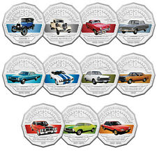2017 FORD AUSTRALIA CLASSIC COLLECTION 11 COLOURED 50c COINS + TIN - FREE POST