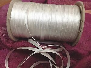 """Vintage Double Silk Satin 1/4"""" Ribbon Pearl White 1yd Made in France"""