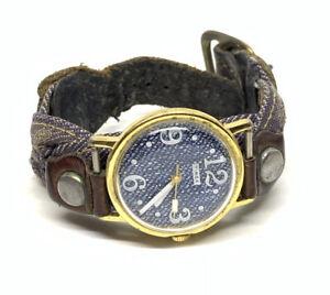 Vintage 1977 Timex Mercury Blue Denim Dial Mechanic Men's Watch Strap For Repair