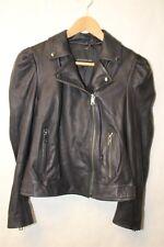 Banana Republic 874653 NEW $498 Puff Sleeve Navy Leather Womens SMALL Jacket qt