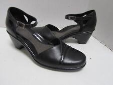 Dansko Black Leather Ankle Strap Heels Shoes Lagenlook NEW 40 9