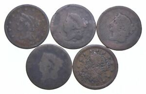 Lot of 5 1817-1857 Early US Large Cent - Dateless - History You Can Hold! *594