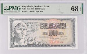 Yugoslavia 1000 Dinara 1981 P 92 d Superb Gem UNC PMG 68 EPQ Top Pop