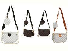 Women's Checkered Pattern 3 Size Bag Ladies Messenger Evening Shoulder Handbag