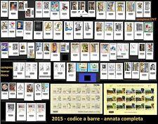 ITALIA 2015 Annata compl (109 fb) 75 CODICE BARRE ENIT EXPO Leonardesca Giubileo