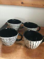 Signature Lot of 4 Black & White Sketch Artistic Heavy Ceramic Coffee Cups Mugs