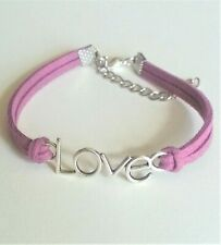 Bracelet Love Leather Purple With Extension 5 CM Bead Silver Tibetan