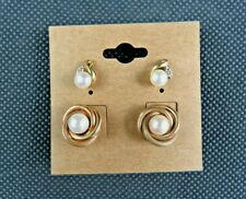 IOK Pearl and Gold Tone Set Earrings Twist Knot Design and Flower Bud Design