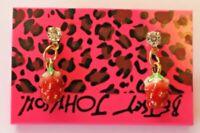 Betsey Johnson Crystal Rhinestone Enamel Strawberry Stud Earrings