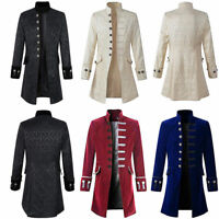 Men Gothic Steampunk Military Long Jacket Stand Collar Trench Coat Outwear New