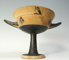 Repro Ancient Greek Pottery Long Stemmed Handled Kylix Lady of Fashion Cup