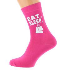 Eat Sleep Shopping avec sacs shopping Image Imprimée Sur Femmes Rose Chaud Chaussettes