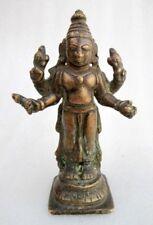 1850's Antique Old Rare Hand Carved Brass Bronze Hindu God Vishnu Figure Statue