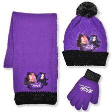 Disney DESCENDANTS NWT One Size 5-14 Girls Winter Hat Glove Scarf Set Purple