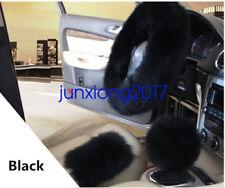 Black Long Plush Warm Steering Wheel Cover Woolen Handbrake Car Accessory 3Pcs
