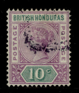 BRITISH HONDURAS QV SG57, 10c mauve & green, FINE USED. Cat £22.