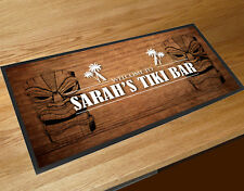 Personalised Welcome Tiki Bar runner counter mat Pub bar mat ..ANY NAME..