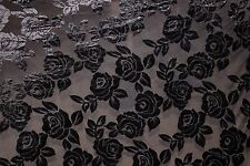 Black Floral Burnout Stretch Velvet #5 Black Backing Fabric Sewing Dress BTY