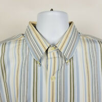 Jos A Bank Traveler Beige Blue Green Striped Mens Dress Button Shirt Size XL